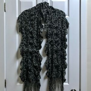 Gray and Black Ruffle Leopard Print Scarf